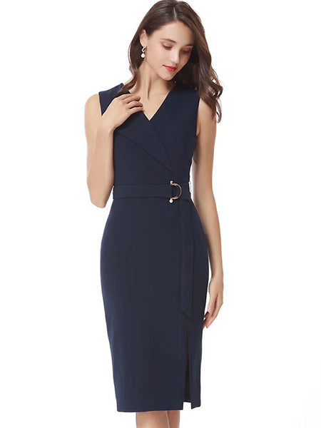 Simple Fashion Pure Color V-Neck Sleeveless Slim Lacing Slit Midi Dress