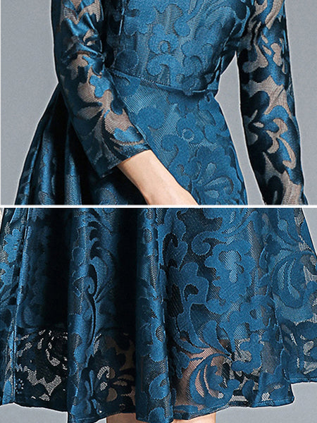 Chic Embroidery Lace O-Neck Long Sleeve Slim Midi Dress