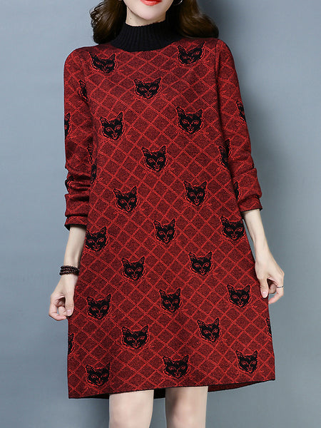 Stylish Knitted High Collar Long Sleeve Shfit Dress