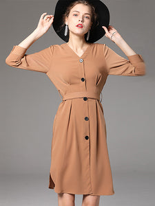 British V-Neck Long Sleeve Single-Breasted Skater Dress