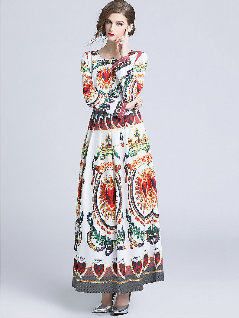 Vintage Floral Print O-Neck Long Sleeve A-Line Maxi Dress