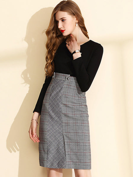 Fashion Fake Two Piece High Waist Plaid Stitching Long Sleeve Knit One-Step Dress