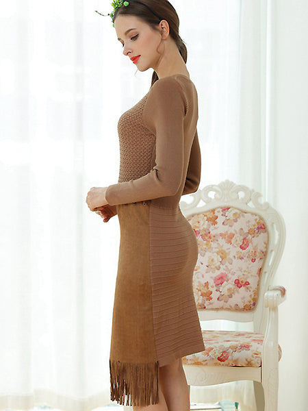 Chic Cottonwool Stitching O-Neck Tassels Hem Sweater Dress