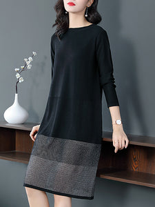 Elegant Stitching O-Neck Long Sleeve Shfit Dress
