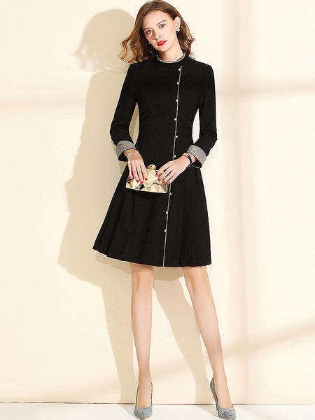 Fashion Stitching Stand Collar Long Sleeve Slim A-Line Dress