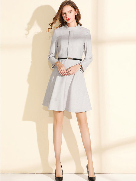 Simple Elegant Stand Collar Long Sleeve Lacing A-Line Midi Dress