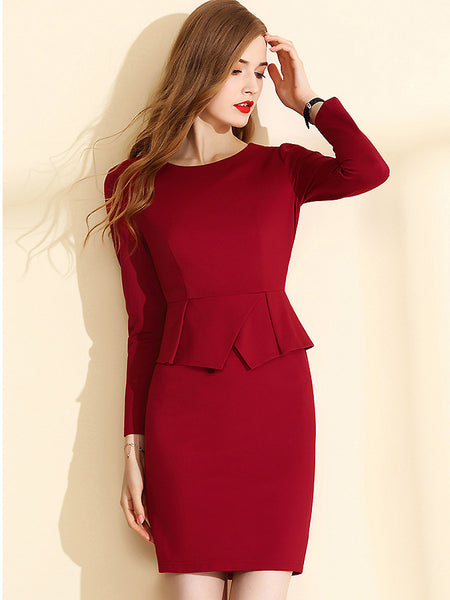 Work Fashion Pure Color Stitching Long Sleeve Slim Bodycon Dress