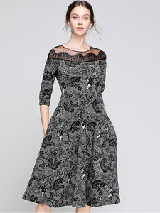 Vintage Floral Print Lace Half Sleeve Mesh Stitching Big Hem Midi Dress