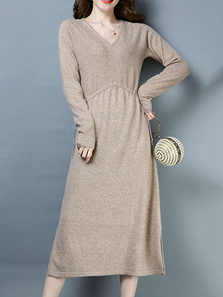 Casual Knitted V-Neck Long Sleeve Lacing Skater Dress