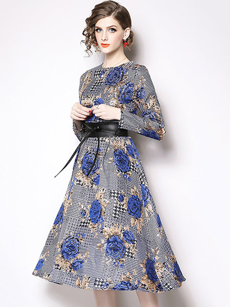 Elegant Floral Jacquard O-Neck Long Sleeve Lacing Midi Dress