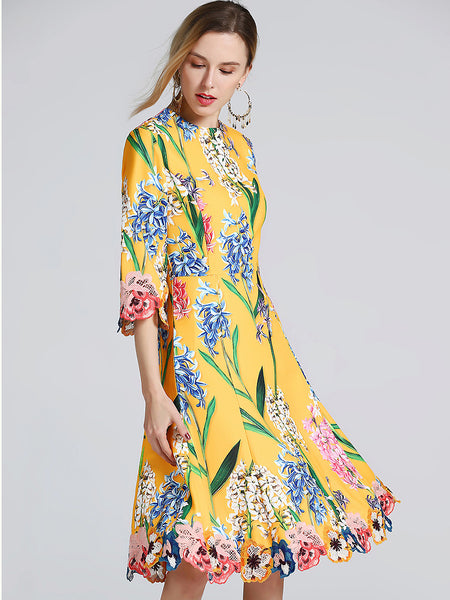 Folk Elegant Embroidery Floral Print Half Sleeve O-Neck A-Line Midi Dress