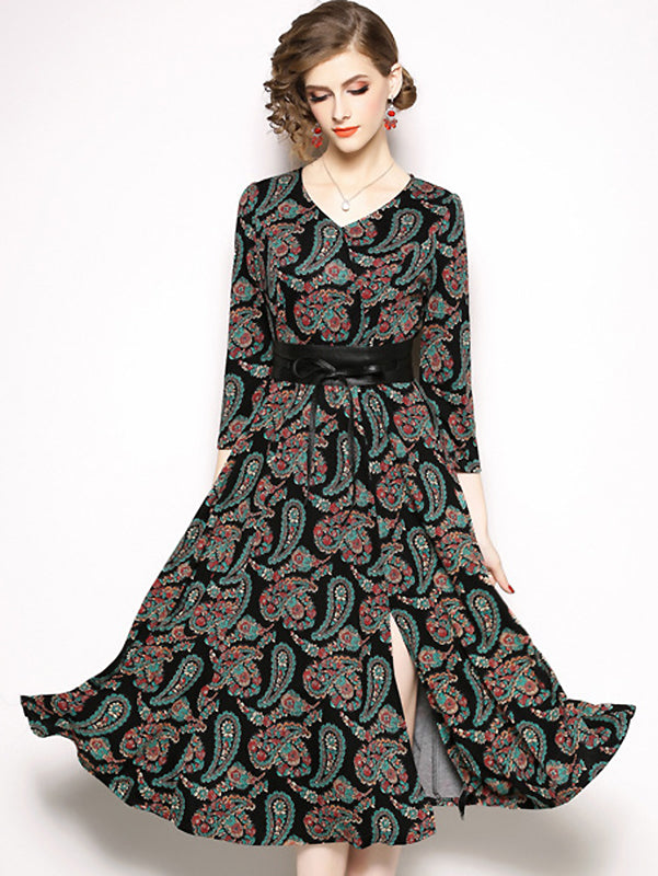 Vintage Print O-Neck Long Sleeve Skater Midi Dress