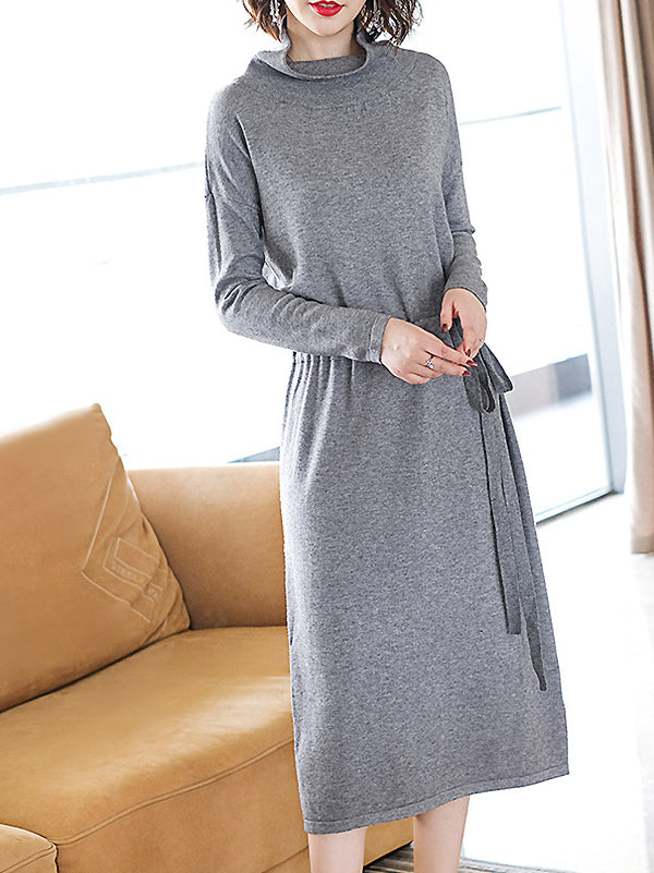 Casual Pure Color High Collar Long Sleeve Lacing Slit Sweater Dress