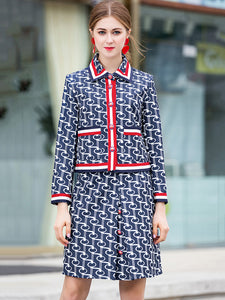 Fashion Print Turn-Down Collar Pocket Mini Dress Two Pieces