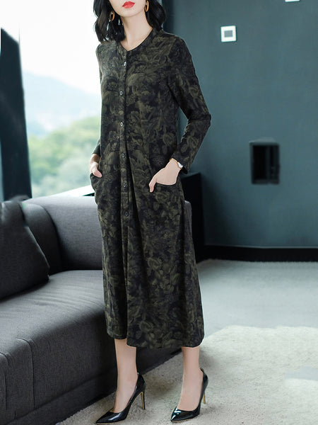 Casual cotton O-Neck Big Hem Floral Plain Loose Dress