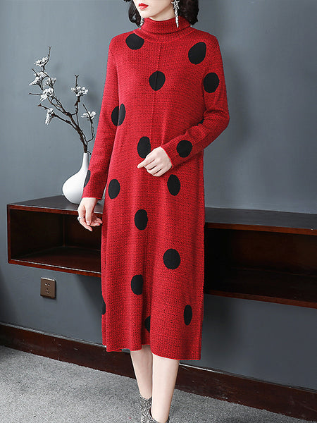 Casual Polka Dot Knitted Half- Collar One-Step Dress