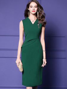 Simple Pure Color V-Neck Sleeveless Sheath Midi Dress
