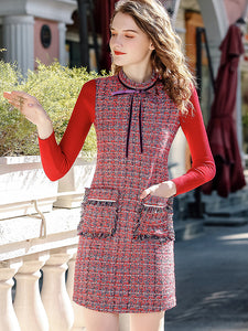 Chic Plaid Stitching Stand Collar Pocket Mini Dress