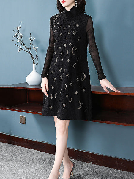 Casual Pure Color Pattern High Collar Long Sleeve Shfit Dress