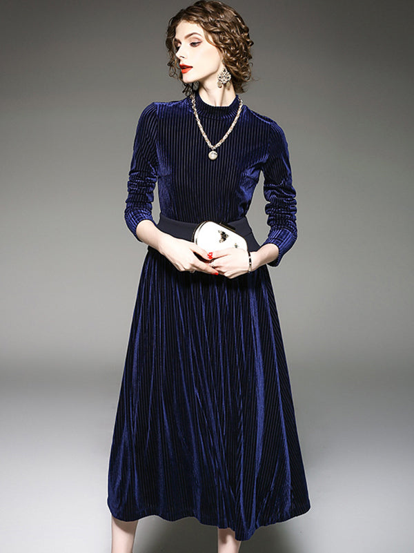 Elegant Pure Color Stand Collar Pleated Long Sleeve Slim Maxi Dress