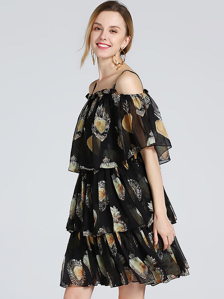 Chic Floral Print Braces Boat Neck Midi Tiered Skirt
