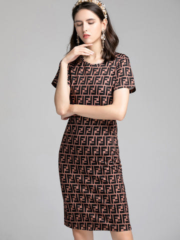 Casual Fashion Letter Printted Short Sleeve O-Neck Bodycon Midi Dress