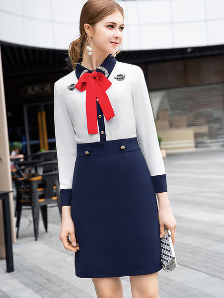 Suave Bowknot Turn-Down Collar Beaded Long Sleeve Bodycon Dress
