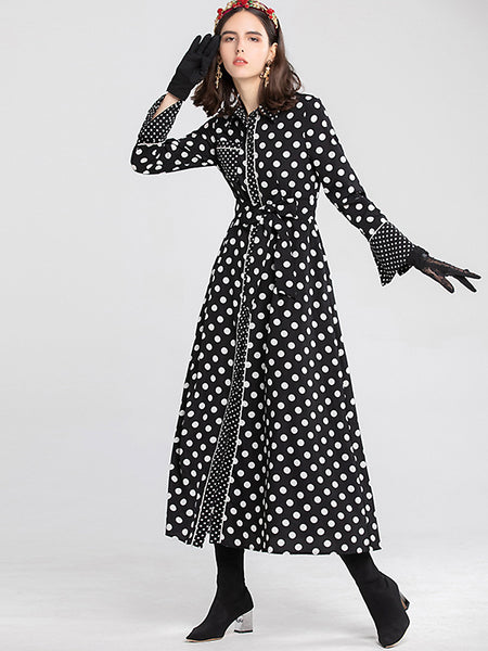 Vintage Polka Dots Turn-Down Collar Long Sleeve Belted Maxi Dress