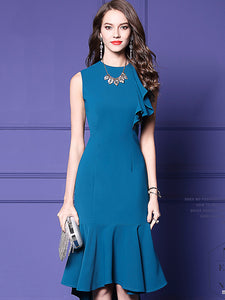 Vintage Elegant Falbala Sleeveless O-Neck Midi Fishtail Dress