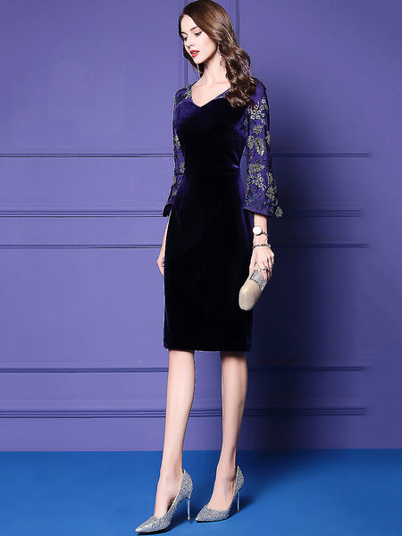 Party Embroidery Velour Stitching V-Neck 3/4 Sleeve Sheath Dress