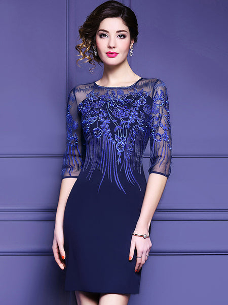 Party Pure Color Embroidery Stitching O-Neck Half Sleeve Bodycon Dress