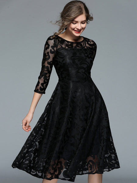 Fashion Lace O-Neck 3/4 Sleeve Fit & Flare Dress