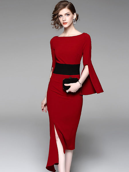 Stylish Slash Neck Long Sleeve Irregular Bodycon Dress