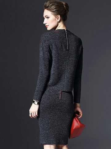 Brief O-Neck Long Sleeve Woolen Two Piece Bodycon Dress