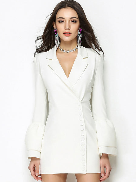 Sexy Pure Color V-Neck Bell Sleeve Gathered Waist Skater Dress