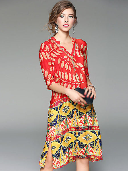 Ethnic V-Neck Floral Print Silk Shift Dress