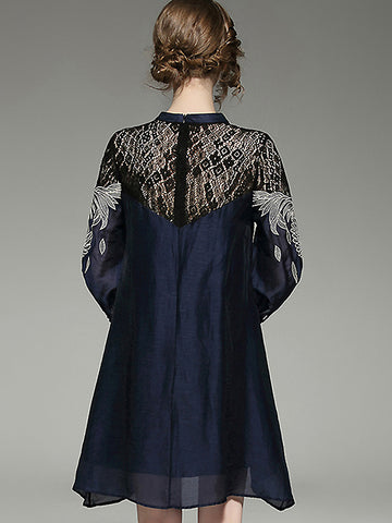 Vintage O-Neck Lace Patchwork Embroidery Loose Shift Dress