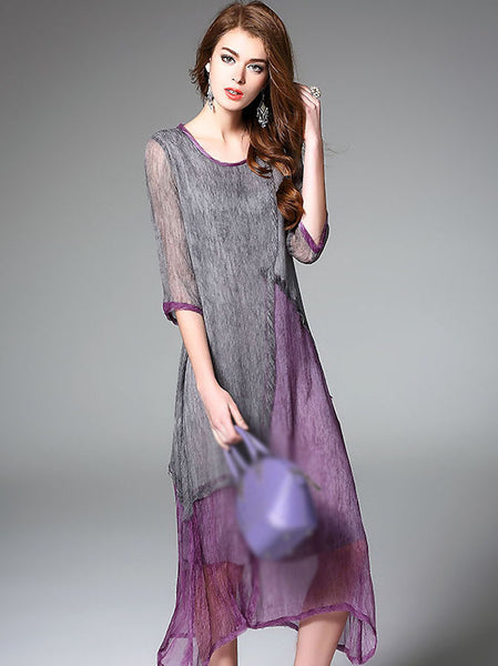 Elegant O-Neck Half Sleeve Hit Color Shift Dress