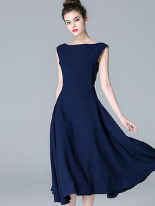 Elegant O-Neck Sleeveless Pure Color High Wasit Maxi Dress