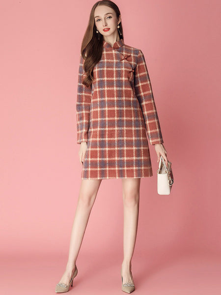 Sweet Plaid Stitching Stand Collar Button Cheongsam Woollen Dress