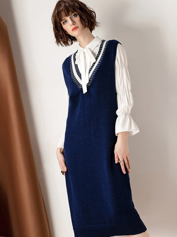 Casual Two-Piece Set Puff Sleeve White Shirt & V-Neck Sleeveless Sweater Dress