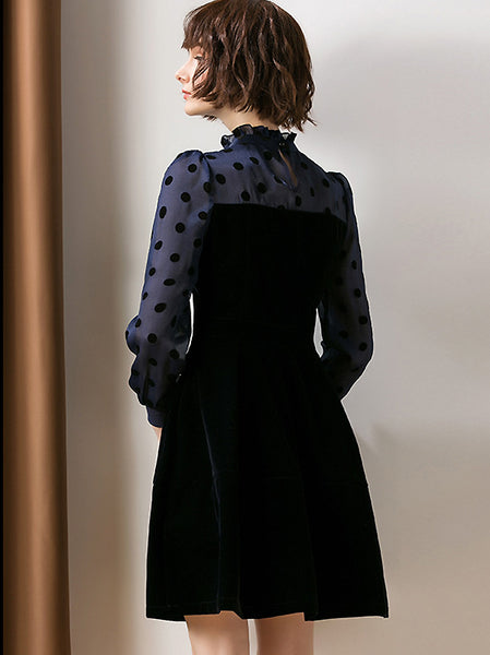 Chic Stitching Stand Collar Long Sleeve Gathered Waist Dress