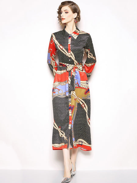 Vintage Print Turn-Down Collar Long Sleeve Lacing Maxi Dress
