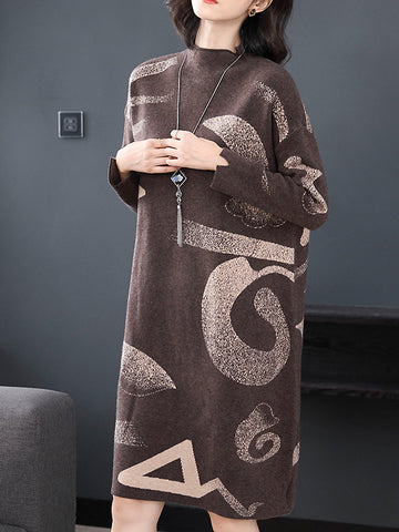 Casual Jacquard Knitting High Collar Long Sleeve Sweater Dress