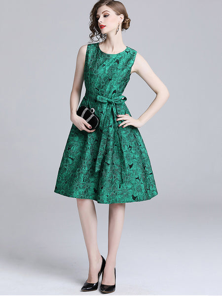 British Jacquard O-Neck Sleeveless Lacing A-Line Skater Dress