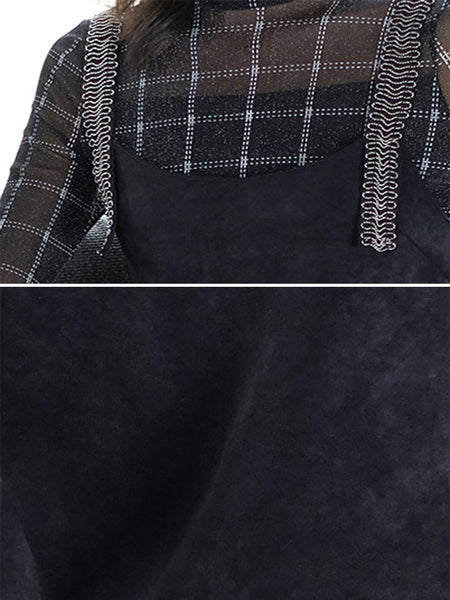 Suave Mesh Stitching Plaid Knitwear And Dress Two Pieces