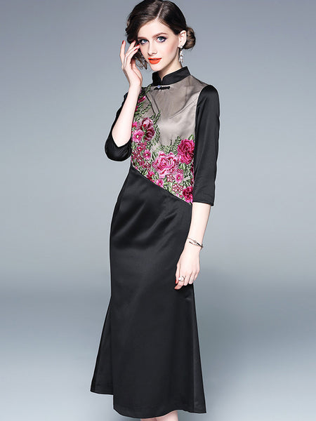 Vintage Embroidery Stand Collar 3/4 Sleeve Bodycon Dress