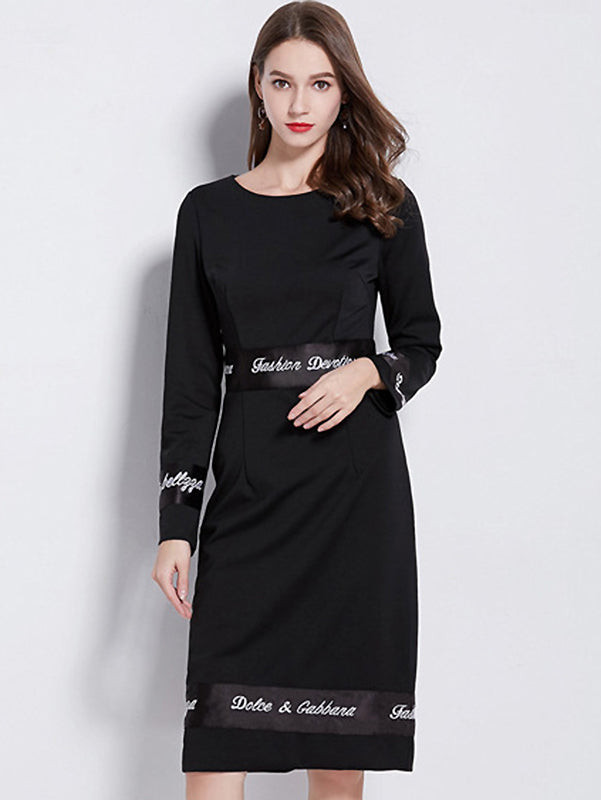 Suave Stitching Pure Color Stand Collar Shfit Bodycon Dress