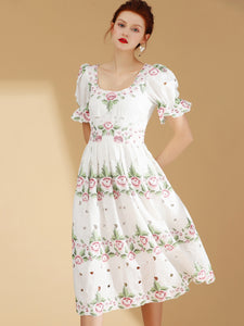 Suave Embroidery O-Neck Flare Sleeve Big Hem Skater Dress