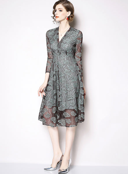 Lace Embroidery V-Neck High Waist Fit & Flare Dress